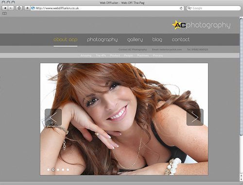 Bedfordshire photographers Web Diffusion website design