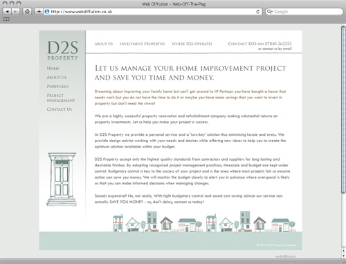 Hertfordshire property developer Web Diffusion website design