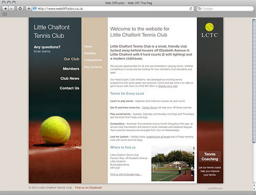 Hertfordshire tennis club Web Diffusion website design