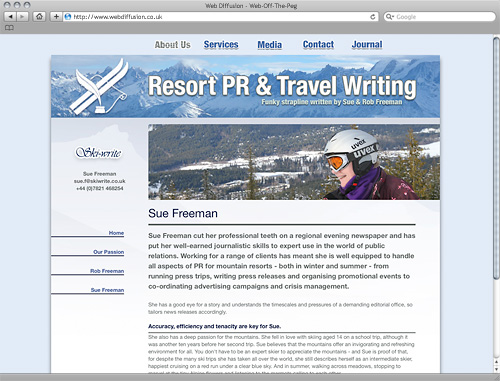 Ski resort PR Web Diffusion website design