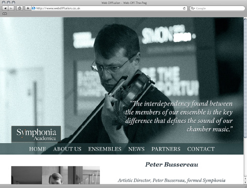 Classical music orchestra Web Diffusion website design