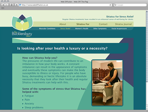 Alternative therapist Hertfordshire Web Diffusion website design